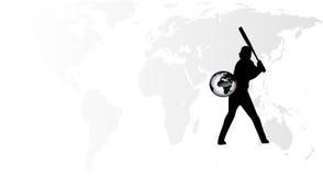 Vecteur de joueur de baseball de la terre illustration stock