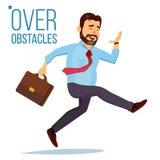 Vecteur de Jumping Over Obstacles d'homme d'affaires amorce Course de concurrence Surmontant des obstacles, atteignant le but App illustration de vecteur