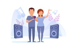Vecteur de karaoke de chant d'homme et de femme cartoon Art d'isolement sur le fond blanc illustration stock
