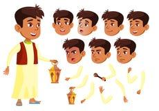 Vecteur de l'adolescence arabe et musulman de garçon adolescent Amusement, gai Émotions de visage, divers gestes Ensemble de créa illustration libre de droits