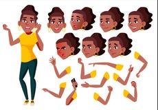 Vecteur de l'adolescence de fille noir Afro-américain adolescent Personne positive Émotions de visage, divers gestes Création d'a illustration libre de droits
