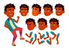 Vecteur de l'adolescence indien de garçon adolescent Amusement, gai Émotions de visage, divers gestes Ensemble de création d'anim illustration de vecteur