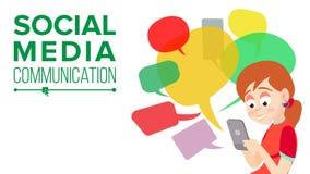 Vecteur de l'adolescence de transmission de messages de fille Communiquez sur l'Internet Causerie sur le réseau Utilisant Smartph illustration stock