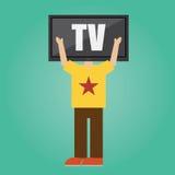Vecteur de l'homme avec la tête de TV Concept Photo libre de droits