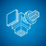 vecteur de l'ingénierie 3D, forme abstraite faite utilisant des cubes et geome Photos stock