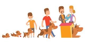 Vecteur de la vie de chien Membres de la famille heureux de chiot illustration stock