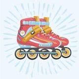 Vecteur de lame de Roler, rollerskating, roller, lame orange de rouleau, équipement de sport Photos libres de droits