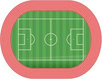 Vecteur de lancement de terrain de football du football avec le champ de courses Images stock