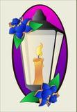 Vecteur de lanterne de tatouage et de pochoir de roses illustration stock