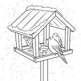 Vecteur de livre de coloriage de conducteur d'oiseau d'hiver illustration stock