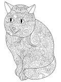 Vecteur de livre de Cat Coloring pour des adultes Image libre de droits