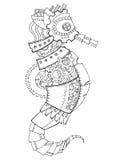 Vecteur de livre de coloriage d'hippocampe de style de Steampunk illustration de vecteur