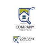 Vecteur de logo de ventes à la maison de recherche Photos stock