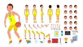 Vecteur de mâle de joueur de basket ensemble animé de création de caractère Homme de joueur de basket Intégral, avant, côté, arri Photo libre de droits