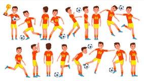 Vecteur de mâle de joueur d'homme du football Champ formation goalkeeper Athlète Character Illustration de bande dessinée illustration de vecteur