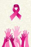 Vecteur de mains de femmes de ruban de conscience de cancer du sein  Photo libre de droits