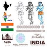 Vecteur de mandala de carte de Krishna le Taj Mahal de drapeau d'Inde Images libres de droits