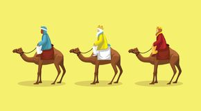 Vecteur de Manga Style Cartoon Three Wisemen Images libres de droits