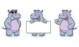 Vecteur de mascotte d'hippopotame heureux Images libres de droits