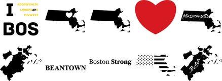 Vecteur de massachussetts de Boston avec le drapeau am?ricain illustration libre de droits