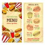 Vecteur de menu de repas de prêt-à-manger de restaurant d'aliments de préparation rapide Illustration de Vecteur
