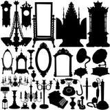 Vecteur de meubles antiques et d'objets Images stock