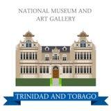 Vecteur de Musée National et d'Art Gallery Trinidad Tobago plat illustration stock
