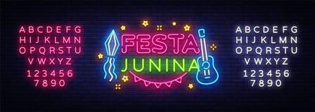 Vecteur de néon de calibre de design de carte de salutation de Festa Junina Conception moderne de tendance, enseigne au néon, ban Image stock