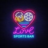 Vecteur de néon de logo de barre de sports Folâtre l'enseigne au néon de bar, j'aiment la bière et le concept du football, enseig Photographie stock