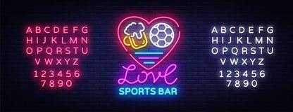 Vecteur de néon de logo de barre de sports Folâtre l'enseigne au néon de bar, j'aiment la bière et le concept du football, enseig Images libres de droits