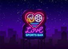 Vecteur de néon de logo de barre de sports Folâtre l'enseigne au néon de bar, j'aiment la bière et le concept du football, enseig Photos libres de droits