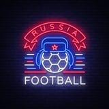 Vecteur de néon de logo de championnat du football Enseigne au néon du football, tasse européenne 2018, bannière légère, petit mo Photos libres de droits