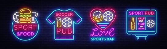 Vecteur de néon de logos de collection de barre de sports Enseignes au néon de bar de sports, concepts réglés du football et du f Photos libres de droits