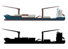 Vecteur de navire porte-conteneurs Images stock