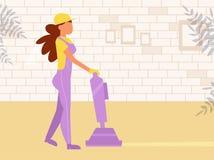 Vecteur de nettoyage de tapis cartoon Femme d'isolement d'oeuvre d'art illustration libre de droits