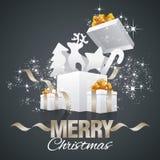 Vecteur de noir d'abrégé sur boîte-cadeau d'éléments de Noël Photo libre de droits