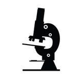 Vecteur de noir d'icône de microscope Image libre de droits