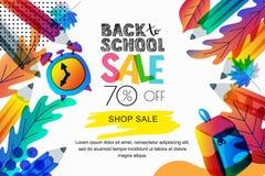 Vecteur de nouveau à la bannière de vente d'école, fond d'affiche La couleur part, des crayons, l'horloge, sac à dos sur le fond  image stock