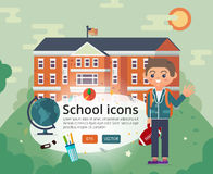 Vecteur de nouveau à la conception de couverture d'école avec l'ado dans l'uniforme Image libre de droits