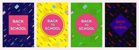 Vecteur de nouveau au style coloré réglé de Memphis de calibre de conception de couverture d'école illustration stock
