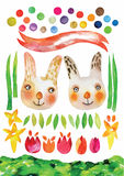 Vecteur de Pâques d'aquarelle, textures de vecteur d'aquarelle de ressort, ensemble tiré par la main de Pâques illustration stock