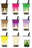 Vecteur de panneau de menu de thé de lait de Boba de bulle illustration libre de droits