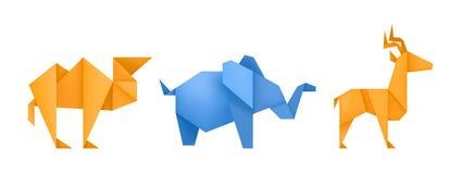 Vecteur de papier différent d'ensemble de jouets d'animaux d'origami illustration stock
