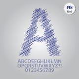 Vecteur de Pen Sketch Alphabet et de chiffre illustration stock
