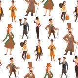 Vecteur de personnes de monsieurs de bande dessinée de victorian de vintage rétro Dénommez l'antiquité d'habillement de monsieur  Images stock