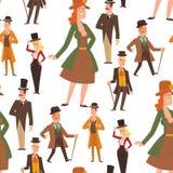 Vecteur de personnes de monsieurs de bande dessinée de victorian de vintage rétro Dénommez l'antiquité d'habillement de monsieur  illustration libre de droits