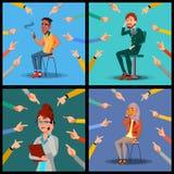 Vecteur de personnes de victime Homme, femme, Arabe, afro-américain Beaucoup de mains avec diriger des doigts Illustration illustration libre de droits
