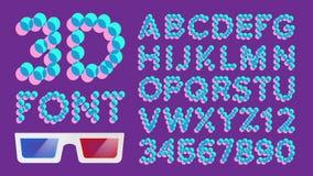 vecteur de pixel de la police 3D Police olographe de Digital typographie Illustration Photos stock