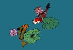 Vecteur de poissons de Koii, nageant sur la rivière Photo stock