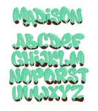 Vecteur de police fondue stylisée et d'alphabet, style de police liquide illustration libre de droits